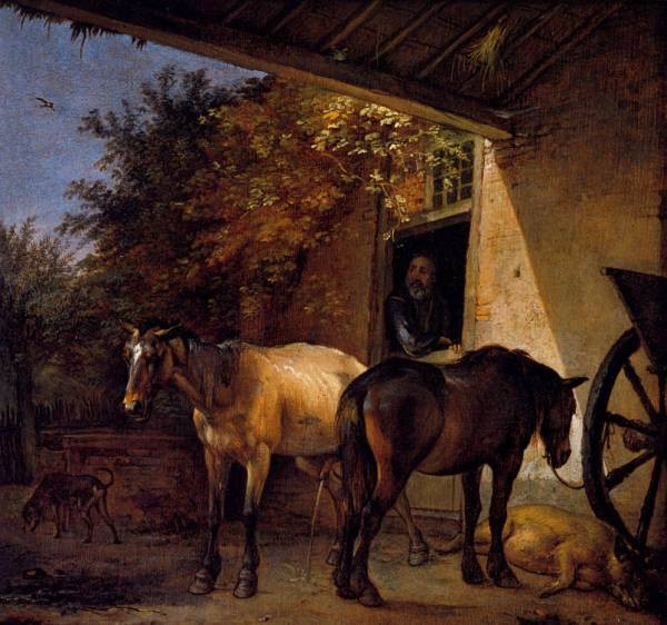 A Barnyard With two Plough Horses